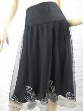 JACQUI E black floral print tulle A-line skirt size 16 BNWT