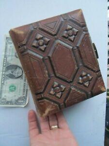 Rare Padded, Leather Antique VICTORIAN Carte de Visite Album, FULL OF TINTYPES!!