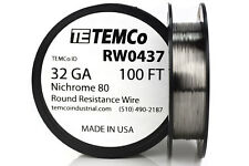 TEMCo Nichrome 80 series wire 32 Gauge 100 FT Resistance AWG ga