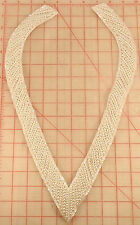 "Large long ""V"" shape beaded applique ivory AB collar neckline v-neck 16"" x 9.5"""