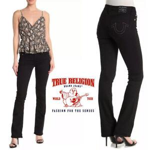 New True Religion Women Becca Mid Rise Bootcut Core Jeans Black Body Rinse Sz 26