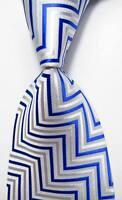 New Classic Striped Blue White JACQUARD WOVEN 100% Silk Men's Tie Necktie