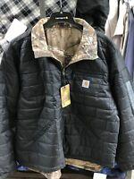 Carhartt 101740-001 Woodsville Reversible Jacket Black/Camo 4XL
