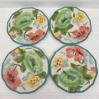 Pioneer Woman Vintage Bloom Set of 4 Salad Dessert Plates Floral Teal Scalloped
