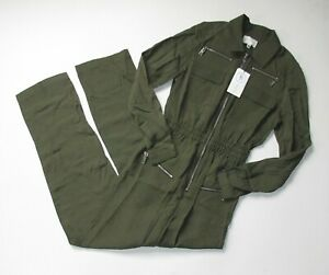 NWT Divine Heritage Zipper Detailed Jumpsuit in Olive Branch Green Flightsuit XS