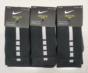 3 Nike Elite Crew Kids Socks 2 Pack 5Y-7Y Size 360 Degree Arch Support
