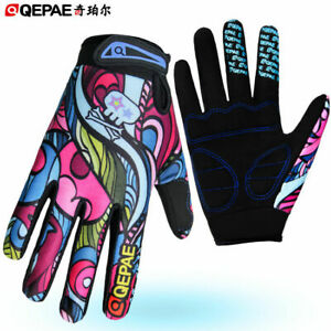 Qepae Women's Full Finger Cycling Gloves Gel Padded Cycle Bicycle Bike Gloves
