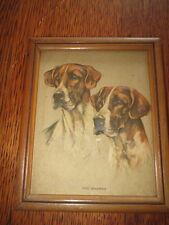 VTG Embossed WOOD Framed Mabel M. GEAR  Dog Art Print FOX HOUNDS Rare Pair!