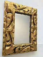 Vtg Florentine Rich Gold Leaf Layers Highly Carved Wood Rococo Wall Mirror 7.5""