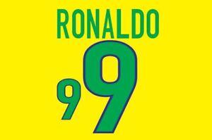 Ronaldo #9 Brazil World Cup 1998 Home Football Nameset for shirt