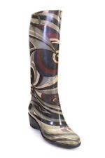 Emilio Pucci Womens Wedge Heel Knee High Rain Boots Gray White Rubber Size 39