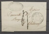 1838 Lettre Aubusson Cachet type 12 Taxe 4 Fabrication locale. X1311