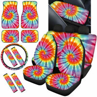 Womens Pink Tie-dying Car Accessories Seat Covers with Floor Mat Full Combo Set