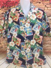 BLUE HAWAII Mens Hawaiian Aloha Shirt Cocktails Tropical Drinks Flowers Sz L