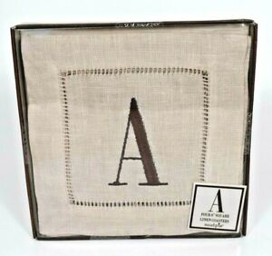 """MudPie - Four 6"""" Square Linen Coasters Letter """"A"""" #258901 (New)"""