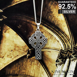 925 Sterling Silver Celtic Cross Pendant Necklace✔️Solid ✔️Quality