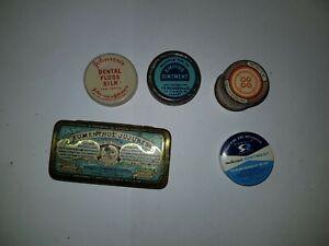 5 Small Household Medicine Pharmacy Chemist Tins including Sample Tins
