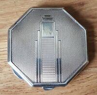 Silver plate vintage Art Deco antique geometric mirrored powder compact box