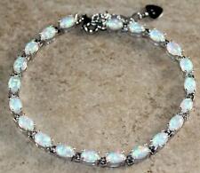 Silver Elegant White Fire Opal Oval Bracelet Woman Gift