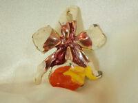 Unique Colorful Enamel Vintage 50's Orchid Flower Brooch 31s7