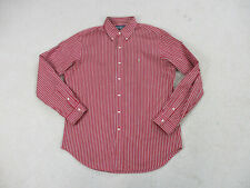 Ralph Lauren Polo Button Up Shirt Adult Large Red White Striped Pony Casual Mens