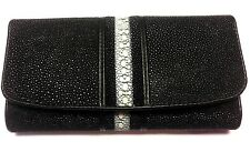 Genuine Stingray Wallets Skin Leather Long Trifold Pearl Black Women's Clutch