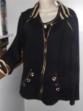 quacker factory black gold cotton sweatshirt ls/sleeveless top size m