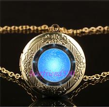 Atlantis Stargate Photo Cabochon Glass Gold Plating Locket Pendant Necklace
