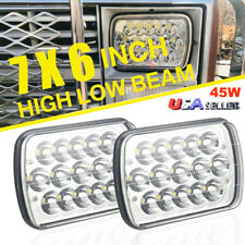 "2x 45W 6"" X 7"" LED Headlight Replacement Lamp DRL for Jeep Cherokee XJ Trucks"