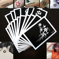 Lot 10PCS Reusable Temporary Glitter Tattoo Stencils Template Body Art Airbrush