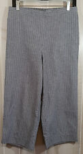 Gray Pinstripe Cropped Pants 14 Petite Alfred Dunner Pockets Elastic Back WP100