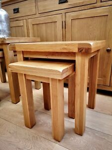 Oak Nest of 2 Tables / Solid Wood Nested Table / Montreal Side Nesting Tables