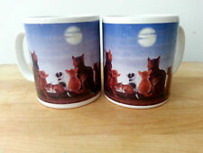 Vintage 2 Otter House/ England cats looking at moon cups mugs