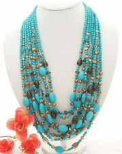 "26""  8 Rows Pearl Turquoise  Smoky Quartz Necklace"