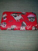Betsey Johnson Pug Red Zip Around Wallet