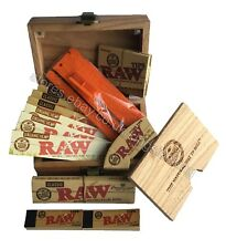 RAW Wooden Rolling Storage Box Set Classic King Size Papers, Tips, Roll Block