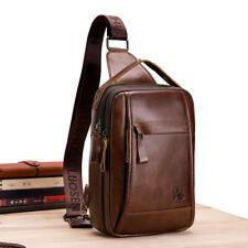 Classic Men's Genuine Leather Crossbody Bag Chest Bag Shoulder Bag+1 Card Holder
