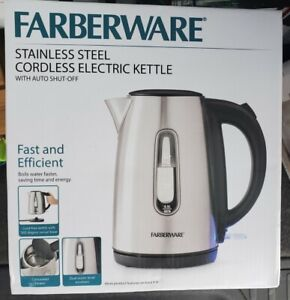 NEW Farberware steel Cordless Electric Kettle 550243 1.7 Liter boil water fast