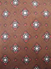 Retro Necktie Red White Diamonds & Circles Print Pattern On Brown Background O