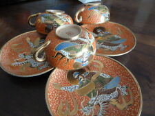 SATSUMA JAPANESE MORIAGE  IMMORTAL  GILDED CUPS AND SAUCERS  古