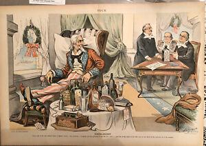 "Puck Magazine Lithograph ""Convalescent"" Uncle Sam Artist Halrmple"