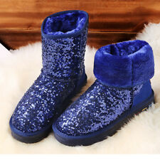 Winter Womens Glitter Sequins Shoes Fur Trim Fashion Casual Warm Snow Boots New