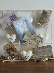 Notice Board Photo Holder Jewellery Display Cream Metal Heart Detail Square