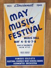 Rare Cincinnati May Music Festival 1948 Concert Poster