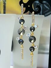 Fashion Rhodium Plated gray crystal rhinestone earrings GD1002
