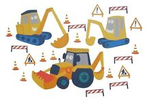 YELLOW DIGGER 21 Wall Decals Construction Trucks Tractor Room Decor Stickers 253