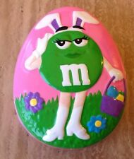 Green M&M's M & M Ceramic EGG Candy Dish Easter Bunny Galerie Collectible