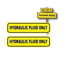 "Pair (2) HYDRAULIC FLUID YELLOW / BLACK WARNING DECALS/STICKER OIL 1"" X 4"" p12"