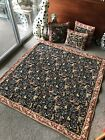 Gobly's French Tapestry with 3 throw pillows medieval animal rabbits fox black