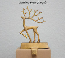 NIB Pottery Barn SMALL MERRY REINDEER BRASS STOCKING HOLDER *Deer Christmas Gold